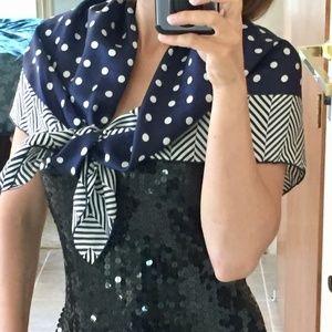 Lauren Ralph polka dot silk scarf navy white